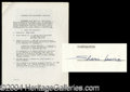 Autographs, Shari Lewis (Lambchop) Rare Signed Document