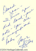 Autographs, Shirley MacLaine Signed Note to Joan Crawford