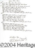 Autographs, Perkins hand lyrics for Beatles rock music