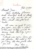 Autographs, Cesar Romero Signed Letter to Joan Crawford