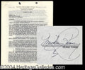 Autographs, Mickey Rooney Vintage Signed Document