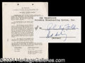 Autographs, Rod Serling (Twilight Zone) Signed Document