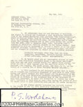 Autographs, P.G. Wodehouse Vintage Signed Document