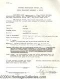 Autographs, Ed Wynn signed document