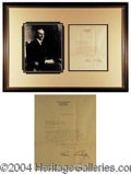 Autographs, Calvin Coolidge Signed Framed Letter