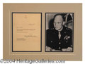 Autographs, Dwight Eisenhower Signed Matted Letter