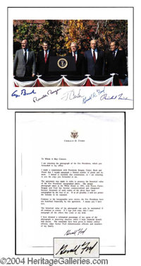 Five Presidents Signed Photo - An extraordinary offering spanning over four decades of American history, this fabulous c...