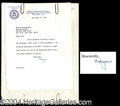Autographs, J Edgar Hoover Signed Letter to Joan Crawford