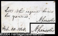 Abraham Lincoln War Dated Signed Endorsement - Rare and highly desirable handwritten war-dated endorsement, beautifully...