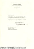 Autographs, Harry Truman Signed Letter 3-28-55