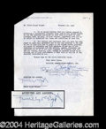 Autographs, Frank Lloyd Wright Scarce Signed Document