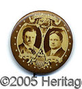 Political:Pinback Buttons (1896-present), SPECTACULAR ROOSEVELT AND JOHNSON PROGRESSIVE SEPIA BUTTON. E...
