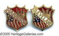 Political:Ferrotypes / Photo Badges (pre-1896), BEAUTIFUL MATCHED PAIR OF 1888 DATED ENAMELLED BRASS PINS. Unusu...