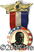 Political:Ribbons & Badges, A STRIKING AND UNUSUAL MCKINLEY BADGE. With unique 1 ¼ inch McKi...