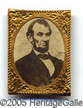 Political:Ferrotypes / Photo Badges (pre-1896), CLASSIC 1864 LINCOLN WITH CARDBOARD PHOTO. Blank reverse as made...