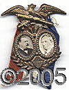 Political:Ferrotypes / Photo Badges (pre-1896), AN EXCEPTIONALLY NICE 1884 CLEVELAND HENDRICKS JUGATE PIN. It is...