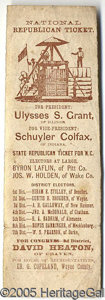 Political:Small Paper (pre-1896), VERY RARE AND UNUSUAL 1868 GRANT COLFAX ELECTORAL TICKET FROM NO...