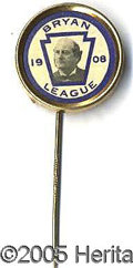 Political:Pinback Buttons (1896-present), CHOICE UNUSUAL 1908 BRYAN STICKPIN. We have never encountered th...