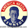 """Political:Pinback Buttons (1896-present), RARE 4"""" JFK CAMPAIGN BUTTON. This rare variety, with its bold co..."""
