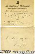 Political:Small Paper (pre-1896), SCARCE ENGRAVED OFFICIAL INVITATION FROM GROVER CLEVELAND'S WHIT...