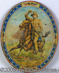 Political:3D & Other Display (1896-present), CLASSIC LITHO TIN SERVING TRAY, FEATURING TEDDY ROOSEVELT LEADIN...