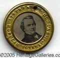 Political:Ferrotypes / Photo Badges (pre-1896), SCARCE LARGER-SIZE 30MM DOUGLAS/ JOHNSON CAMPAIGN FERRO FROM 186...