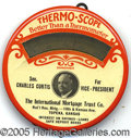 Political:Advertising, EXTREMLEY RARE 1932 CELLULOID POLITICAL THERMO-METER FOR HOOV...
