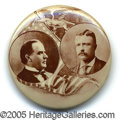 """Political:Pinback Buttons (1896-present), A CHOICE EXAMPLE OF THIS LOVELY 1 ¼"""" MCKINLEY ROOSEVELT JUGATE B..."""