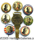 "Political:Pinback Buttons (1896-present), A GROUP OF (8) ""BETTER"" TAFT ITEMS FROM THE 1908 AND 1912 ELECTI..."