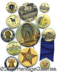 "A COLLECTION OF (12) COLORFUL 1904 WORLD'S FAIR BUTTONS. Ranging in size from 7/8"" to 2 ¼"" as shown. Se..."