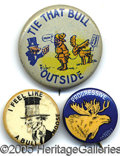 "Political:Pinback Buttons (1896-present), THREE NICE 1912 BUTTONS FOR TEDDY ROOSEVELT ""BULL MOOSE"" CANDIDA..."