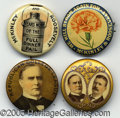 "Political:Pinback Buttons (1896-present), FOUR SCARCE VARIETIES OF 1 ¼"" MCKINLEY BUTTONS. Three are from ..."