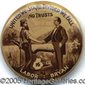 """Political:Pinback Buttons (1896-present), IMPORTANT 1 ¼"""" W.J. BRYAN BUTTON RARITY. This great design dep..."""