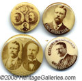 """Political:Pinback Buttons (1896-present), FOUR """"BETTER"""" SEPIA TONE TEDDY ROOSEVELT 1904 CAMPAIGN BUTTONS. ..."""