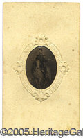 Photography:Tintypes, SUPER UNUSUAL TINTYPE OF MCCLELLAN ON HORSEBACK SET INTO A CARTE...