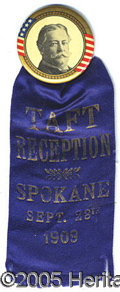 "Political:Ribbons & Badges, BEAUTIFUL COLORFUL TAFT BADGE WITH LARGE 1 ¾"" BUTTON. This clas..."