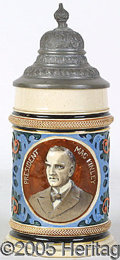 Political:3D & Other Display (1896-present), LOVELY MULTICOLOR HIGH-RELIEF MCKINLEY BEER STEIN. Superb pris...