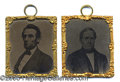 Political:Ferrotypes / Photo Badges (pre-1896), SUPERB MATCHED PAIR OF LARGE LINCOLN AND HAMLIN TINTYPES. Made ...