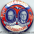 """Political:Pinback Buttons (1896-present), VERY RARE 1 ¼"""" FDRCHURCHILL JUGATE BUTTON VARIETY. This colorful..."""