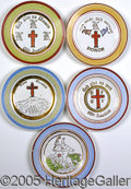 """Political:3D & Other Display (1896-present), COLLECTION OF (5) DIFFERENT FINE-CHINA KKK SAUCERS. Each 6 ¼"""" in..."""
