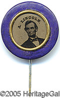 Political:Ferrotypes / Photo Badges (pre-1896), CHOICE 1864 LINCOLN FERRO WITH COLORFUL BORDER. Bold purple enam...