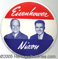 """Political:Pinback Buttons (1896-present), RARE GIANT 9"""" SIZE EISENHOWER-NIXON JUGATE BUTTON. This large si..."""
