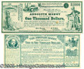 """Political:Small Paper (pre-1896), TWO EXAMPLES OF 1880 SATIRICAL POLITICAL """"CURRENCY"""". Both satiri..."""