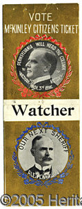 """Political:Ribbons & Badges, GORGEOUS, LARGE 1896- DATED MCKINLEY """"COATTAIL"""" RIBBON FROM PENN..."""