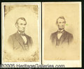 Photography:CDVs, TWO FINE LINCOLN CARTESDE- VISITE WITH ADVERTISING ON REVERSE. O...