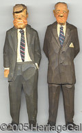 Political:3D & Other Display (1896-present), CHARMING PAIR OF WOODEN FOLK ART FIGURES OF JFK & JOHNSON. Clear...