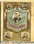 Political:Small Paper (pre-1896), COLORFUL 1884 BLAINE AND LOGAN CAMPAIGN SONG BOOK. Great color c...