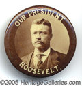 Political:Pinback Buttons (1896-present), CHOICE EXAMPLE OF AN UNUSUAL TEDDY PINBACK. Rich, deep sepia on ...