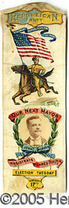"""Political:Ribbons & Badges, COLORFUL LARGE TEDDY ROOSEVELT """"COATTAIL"""" RIBBON. This large 9 ½..."""