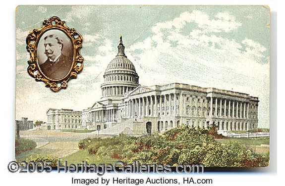 TAFT CAMPAIGN POSTCARD WITH FANCY PORTRAIT BROOCH ATTACHED